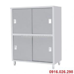Tủ inox đứng 4 cửa lùa, tủ úp bát đĩa cửa trượt