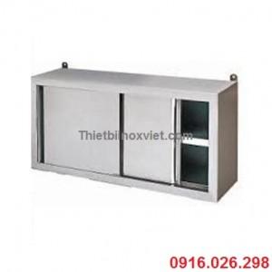 Tủ inox treo tướng cửa lùa | Tủ nox cửa trượt treo tường