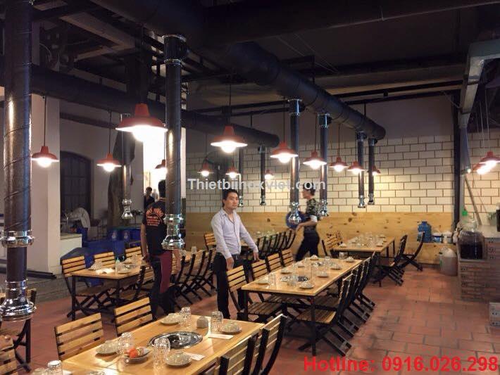 Nhà hàng nướng hàn quốc, chụp hút mùi bếp nướng than hoa không khói tại bàn