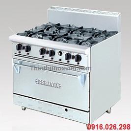 Thiết bị bếp âu nhà hàng | Bếp âu 6 họng đốt kèm lò nướng
