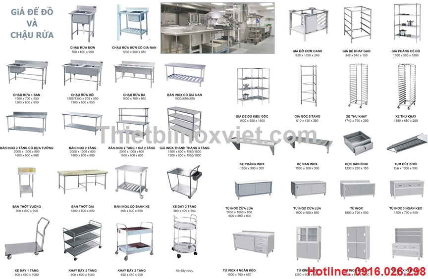 Thiết bị inox bếp công nghiệp, thiết bị inox bếp nhà hàng
