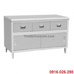 Tủ inox cửa lùa kèm 3 ngăn kéo | Tủ bàn inox có ngăn kéo
