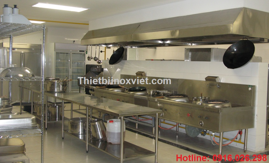 Khu bếp á nhà hàng, thiết bị inox bếp ăn công nghiệp, thiết bị inox bếp nhà hàng