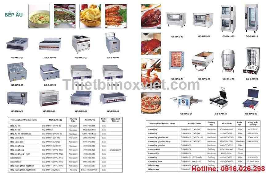 Thiết bị bếp âu công nghiệp, bếp nhà hàng khách sạn
