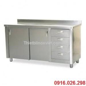 Tủ quầy inox cửa trượt có ngăn kéo, bàn tủ inox cửa lùa kèm ngăn kéo