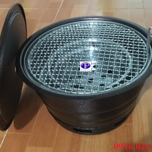 Bếp nướng than hoa âm bàn vỏ sắt kèm lắp và vỉ nướng