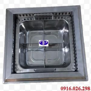 Nồi lẩu inox 4 ngăn kèm khung bếp