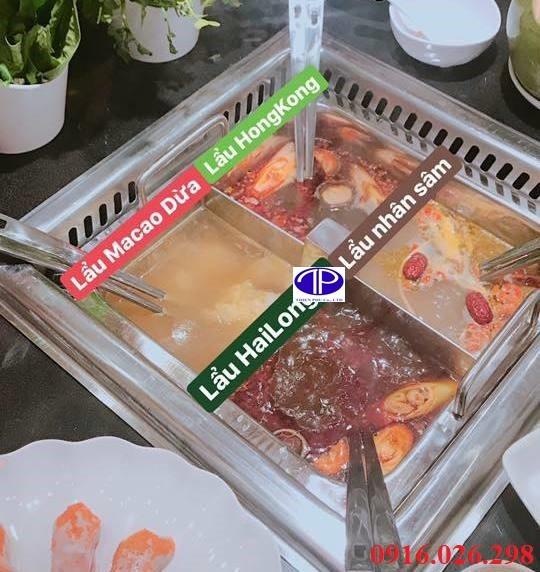 Nồi lẩu 4 ngăn cho nhà hàng lẩu 4 mùa, lẩu hongkong, lẩu tứ xuyên