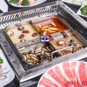Nổi lẩu inox 4 ngăn cho nhà hàng lẩu nấm 4 vị