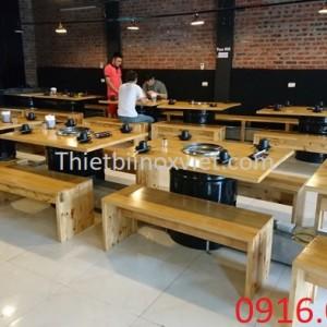 Cung cấp bàn ăn mặt gỗ 6 ghế nhà hàng
