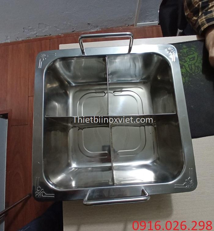 Nồi lẩu inox 4 ngăn dành cho nhà hàng